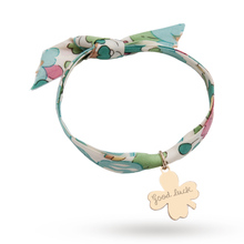 Merci Maman Liberty Print Yellow Gold Plated Good Luck Leaf Bracelet