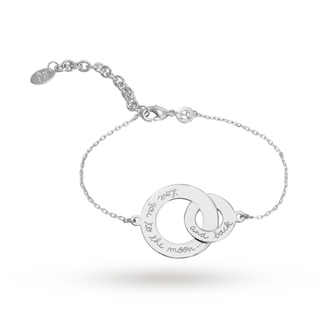 Exclusive - Message by Merci Maman Moon and Back Silver Bracelet