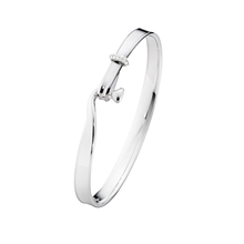 Georg Jensen Silver and 18ct White Gold 0.08ct Diamond Torun Bangle Size large