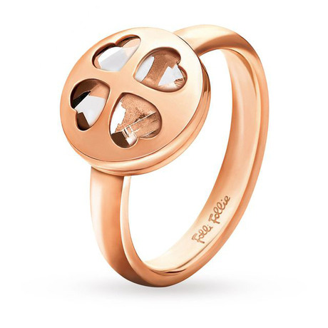 Folli Follie Heart4Heart Win Rose Gold Ring Clear 52