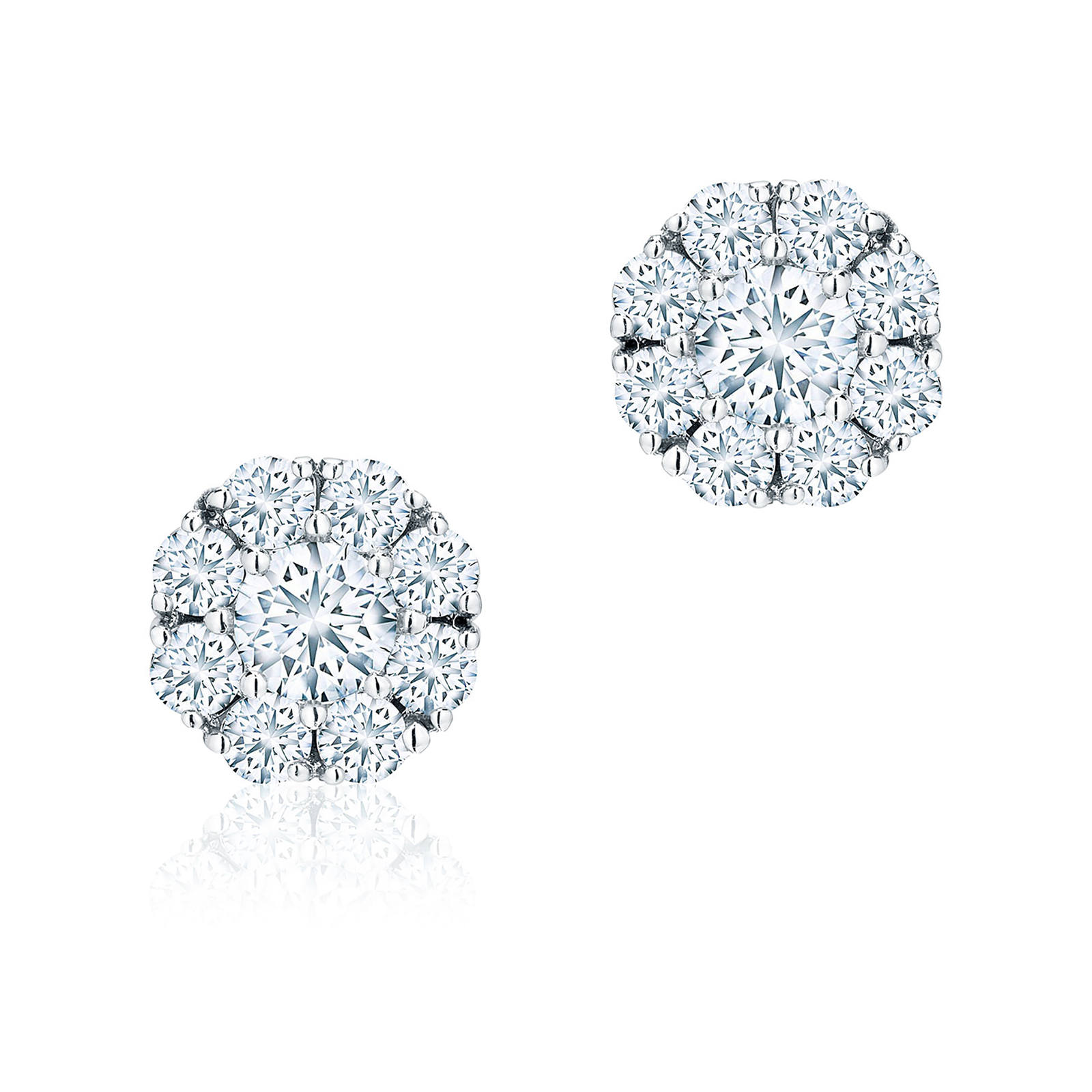Birks Snowflake 0.92ct Diamond Cluster Stud Earrings