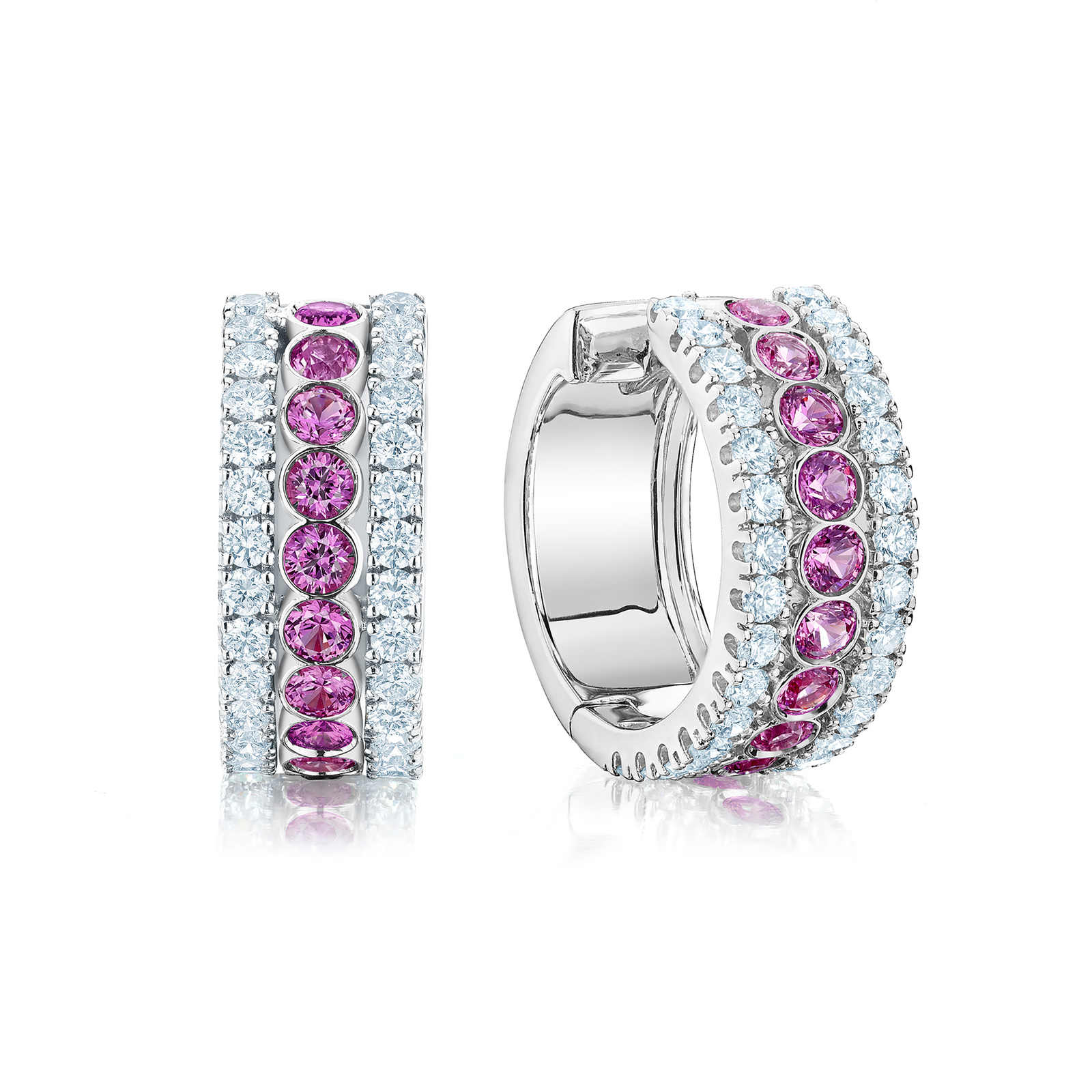 Birks Splash 0.66ct Diamond and Pink Sapphire Hoop Earrings