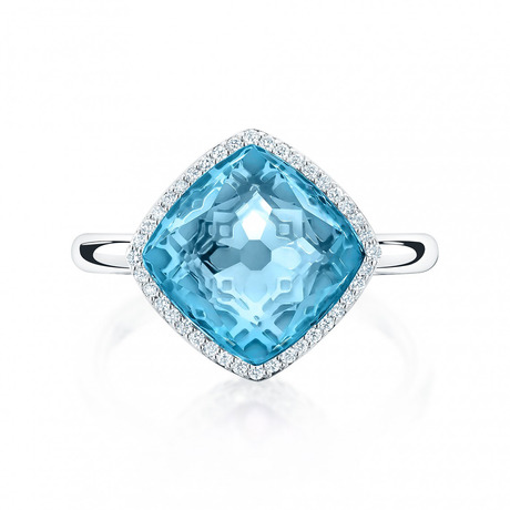 Birks Muse Blue Topaz and Diamond Ring - Ring Size K