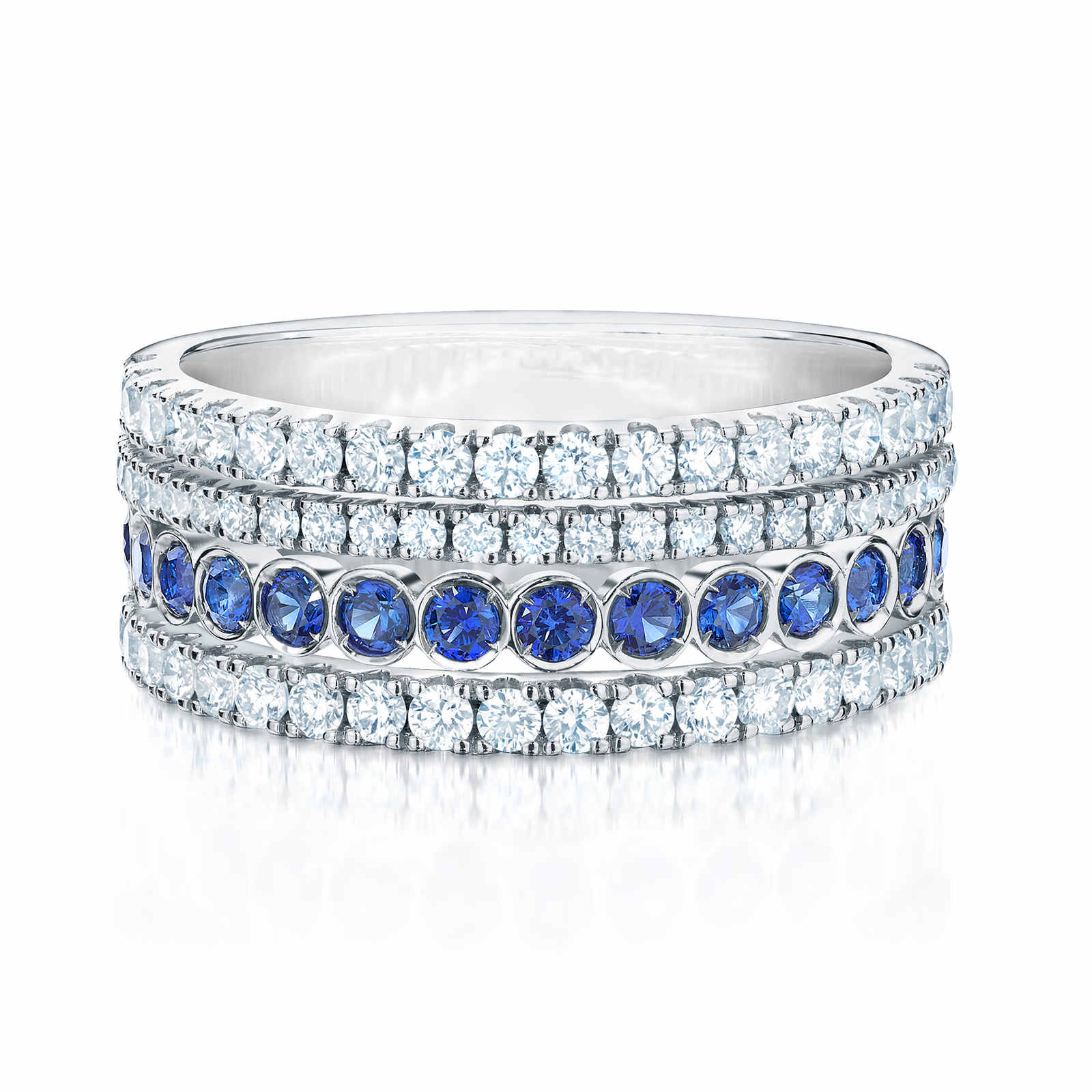 Birks Splash Diamond and Blue Sapphire Ring - Ring Size K