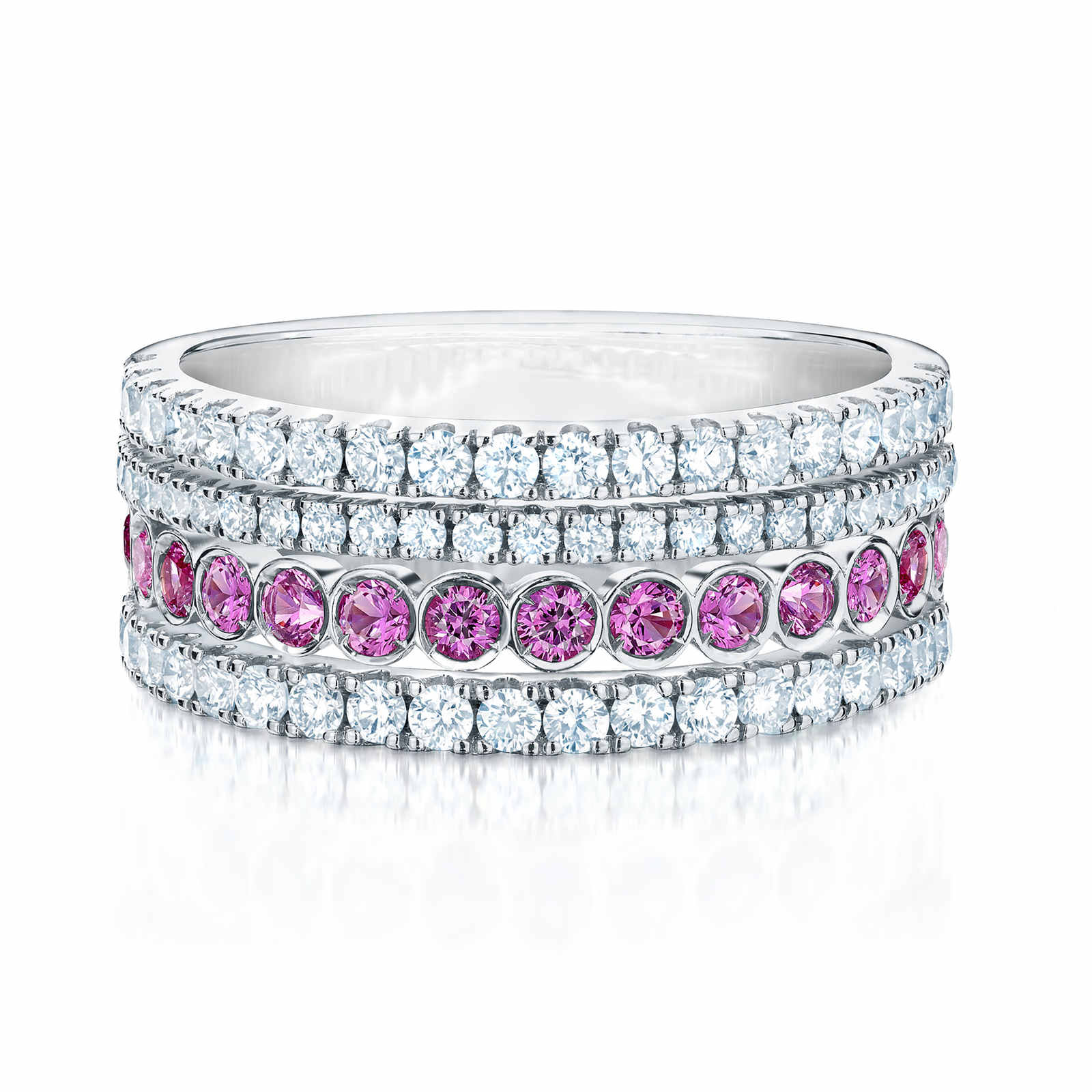 Birks Splash Diamond and Pink Sapphire Ring - Ring Size K