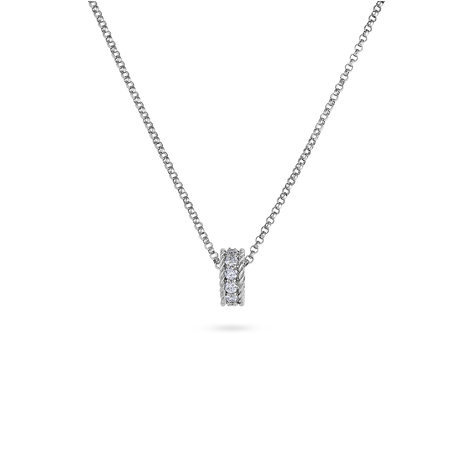 Roberto Coin Symphony 18ct White Gold 0.156ct Diamond Bead Pendant