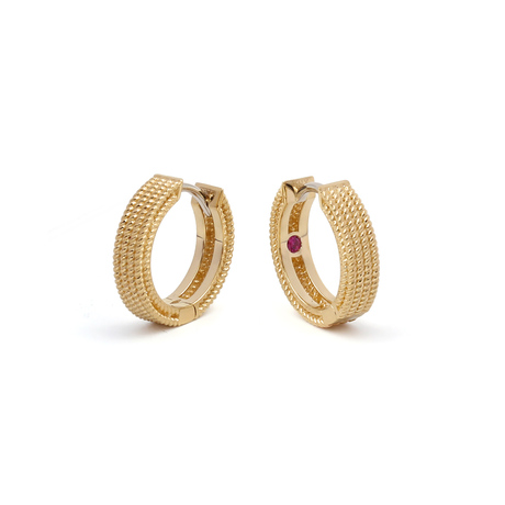 Roberto Coin Symphony 18ct Yellow Gold Pattern Hoop Earrings