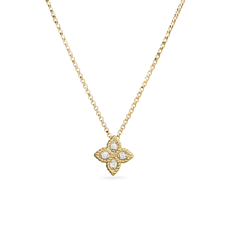 Roberto Coin Princess Flower 18ct Yellow Gold And 0.04ct Diamond Pendant