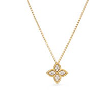 Roberto Coin Princess Flower 18ct Yellow Gold And 0.18ct Diamond Pendant