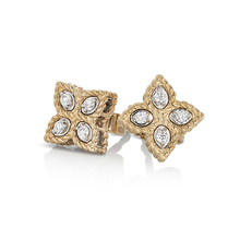 Roberto Coin Princess Flower 18ct Yellow and White Gold 0.096ct Diamond Stud Earrings