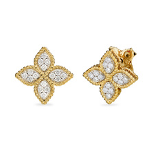 Roberto Coin Princess Flower 18ct Yellow and White Gold 0.37ct Diamond Stud Earrings
