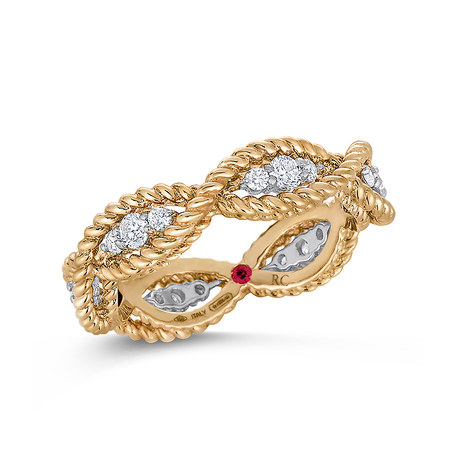 Roberto Coin New Barocco 18ct Yellow Gold 0.48ct Diamond - Rings Size N