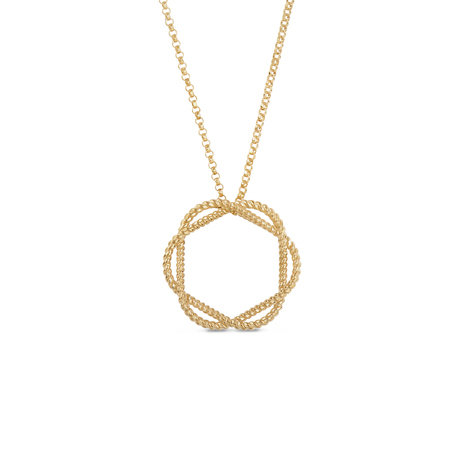 Roberto Coin New Barocco 18ct Yellow Gold 0.05ct Diamond Pendant