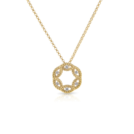 Roberto Coin New Barocco 18ct Yellow Gold 0.14ct Diamond Pendant