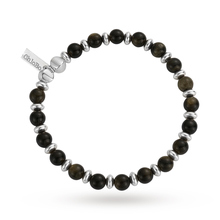 ChloBo Mens Golden Obsidian Ball Bracelet
