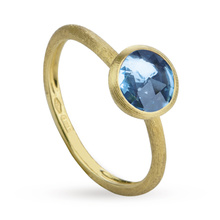 Marco Bicego Jaipur Blue Topaz Bezel Set Ring in 18 Carat Yellow Gold
