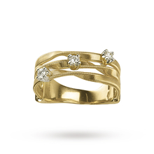 Marco Bicego Marrakech Three Stone Brilliant Cut Diamond Ring in 18 Carat Yellow Gold