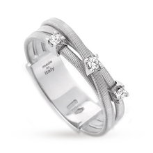 Marco Bicego Goa Three Stone Brilliant Cut Diamond Ring in 18 Carat White Gold