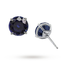 CARAT 9ct White Gold Sapphire Blue Coloured Stud Earrings