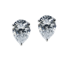CARAT* White Gold Pear Shaped Stud Earrings