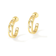 Messika 18ct Yellow Gold Diamond Half Hoop Earrings