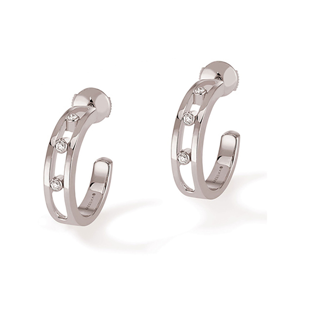 Messika 18ct White Gold Diamond Half Hoop Earrings