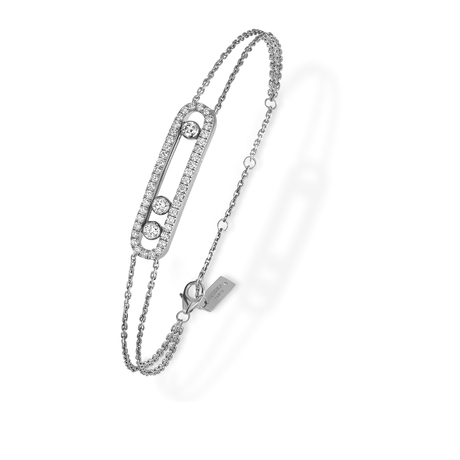 Messika 18ct White Gold Move Classique Uno Double Pave Bracelet