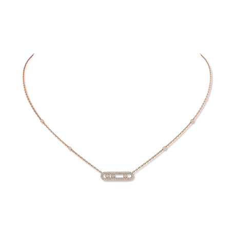 Messika 18ct Rose Gold Move Classique 0.35ct Diamond Pave Necklace