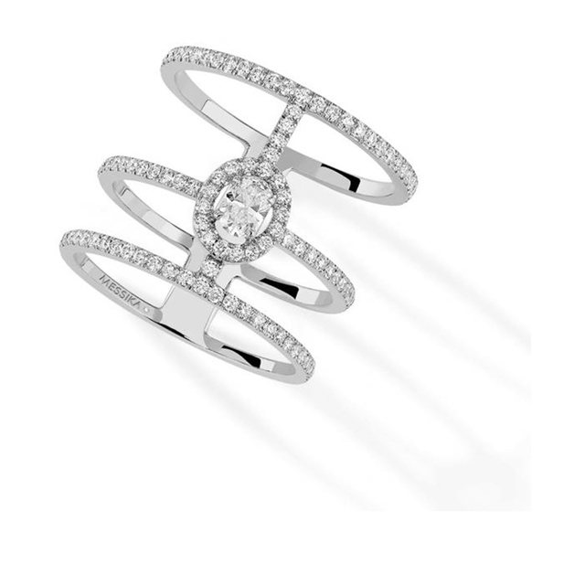Messika Glam'Azone Three Row Diamond Ring in 18ct White Gold