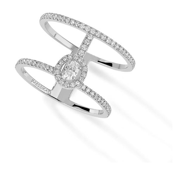 Messika Glam'Azone Two Row Diamond Ring in 18ct White Gold