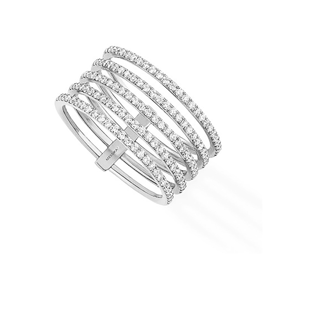Messika Gatsby Five Row Diamond Ring in 18ct White Gold