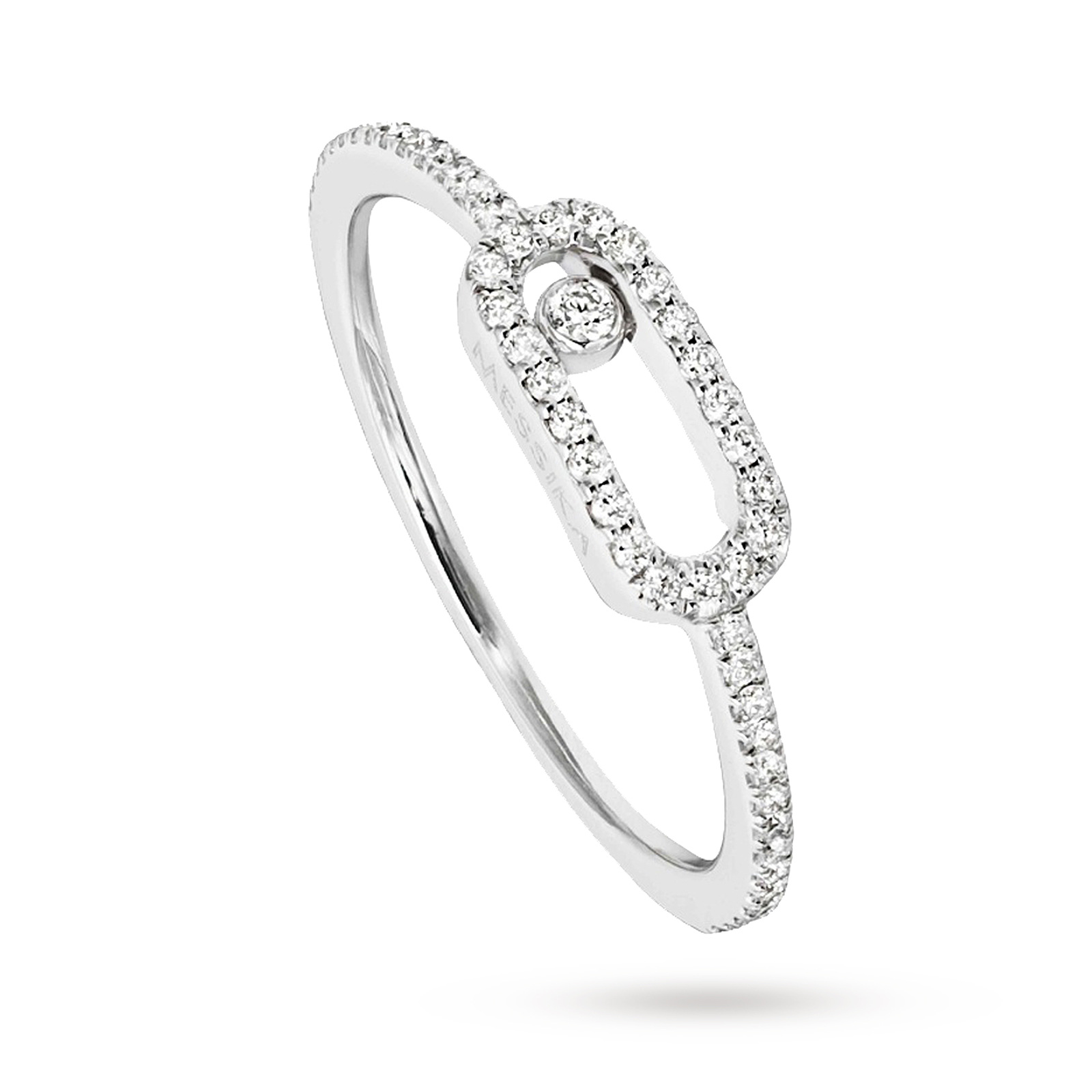 Messika 18ct White Gold Move Uno Diamond And Pave Set Diamond Ring