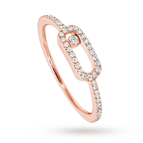 Messika 18ct Rose Gold Move Uno Diamond And Pave Set Diamond Ring