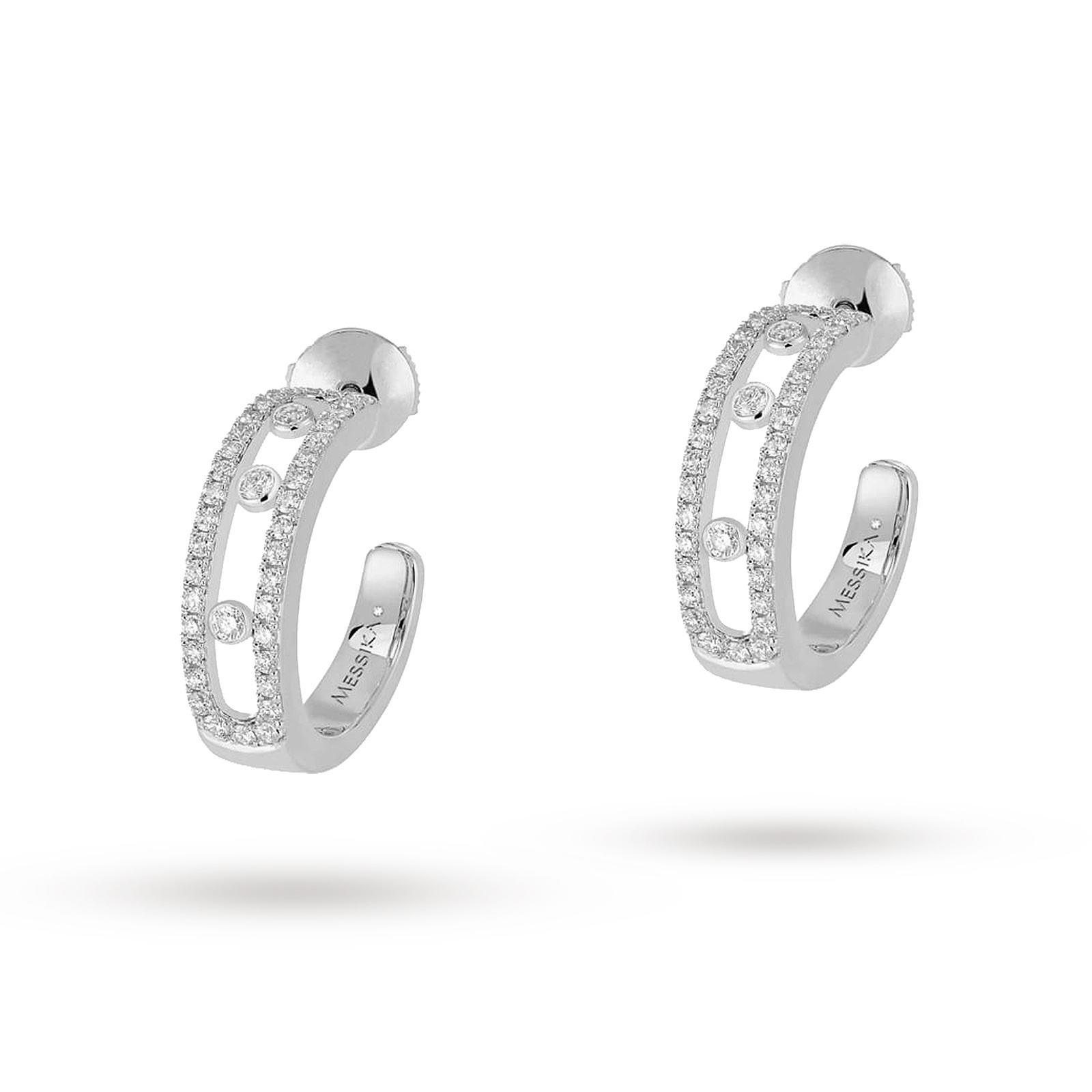 Messika Move Classique Diamond Pave Half Hoop Earrings