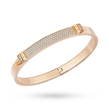 SWAROVSKI Distinct Rose Gold Plated Small Crystal Pave Bangles