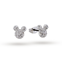 Disney Couture White Gold Plated Pave Crystal Mickey Mouse Stud Earrings
