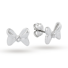 Disney Couture White Gold Plated Minnie Mouse Bow Stud Earrings With Crystals