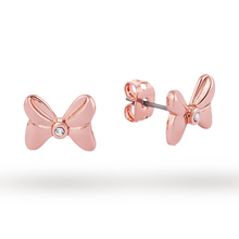 Disney Couture Rose Gold Plated Minnie Mouse Bow Stud Earrings With Crystals