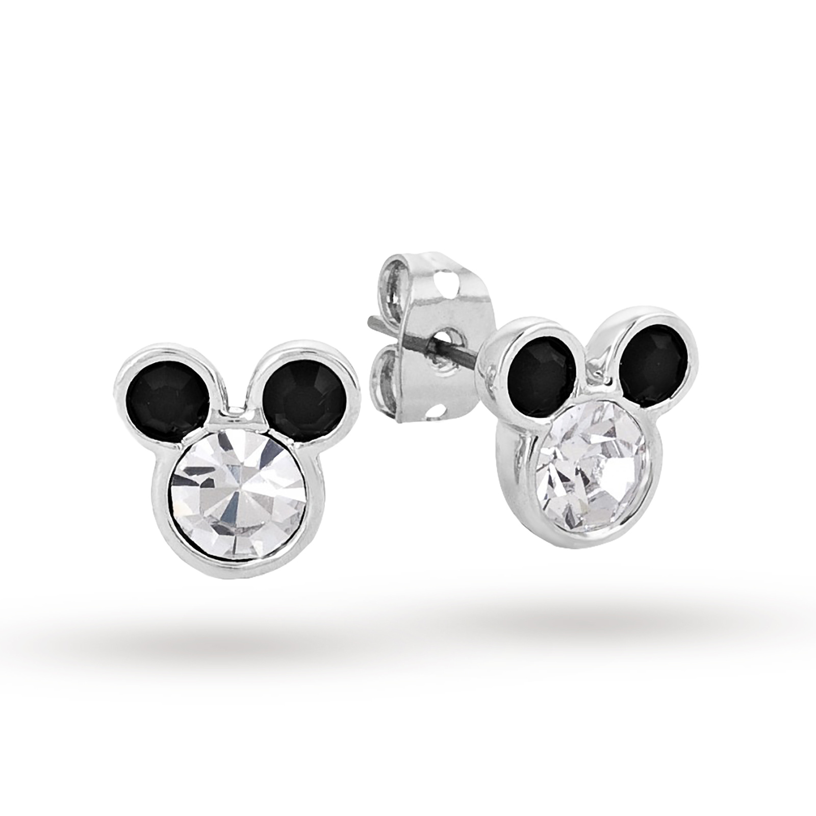 Disney Couture White Gold Plated Minnie Mouse Black Crystal Ears Stud  Earrings
