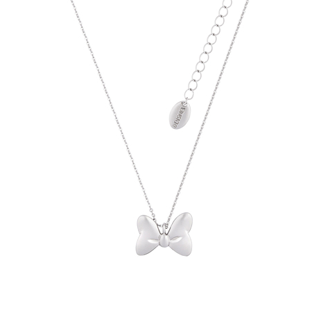 Disney Couture White Gold Plated Minnie Mouse Bow Necklace