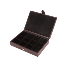 Brown Leather 12 Piece Cufflink Box